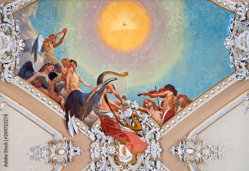 CATANIA, ITALY - APRIL 6, 2018: The fresco choir of angels from ceiling of church Basilica Maria Santissima dell'Elemosina by Giuseppe Sciuti (1896).