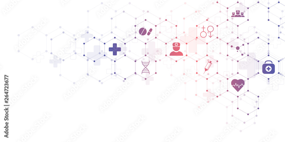 Fototapety, obrazy: Abstract medical background with flat icons and symbols. Concepts and ideas for healthcare technology, innovation medicine, health, science and research.
