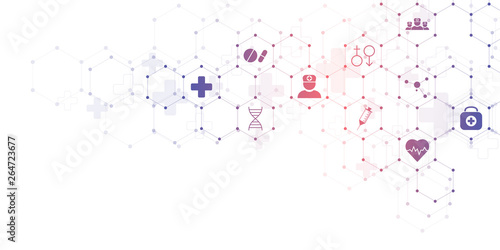 fototapeta na drzwi i meble Abstract medical background with flat icons and symbols. Concepts and ideas for healthcare technology, innovation medicine, health, science and research.
