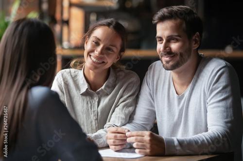 Fototapeta Smiling diverse hr managers listening female job candidature obraz