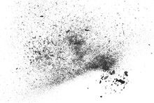 Black Charcoal Dust, Gunpowder Blast Effect Isolated On White Background And Texture, Top View And Clipping Path