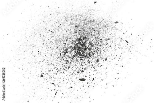 Fotografie, Obraz Black charcoal dust, gunpowder blast effect isolated on white background and tex