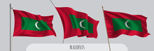 Set Of Maldives Waving Flag On Isolated Background Vector Illustration