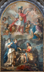 Panel Szklany Podświetlane Dla Kościoła CATANIA, ITALY - APRIL 7, 2018: The painting of Tobias and archangel Raphael in church Chiesa di San Benedetto by Matteo Desiderato (1780).