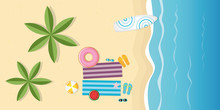 Beautiful Day On The Beach Top View With Surfboard And Palm Trees Summer Holiday Design Vector Illustration EPS10