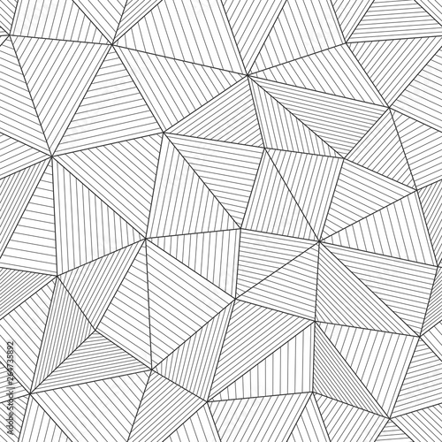 fototapeta na ścianę Modern mesh texture with parallel fibers. Light black and white backdrop. Seamless vector pattern. Abstract geometric background with triangles and thin lines.