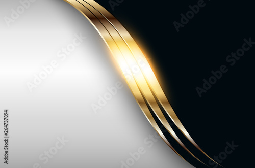 Stampa su Tela Business elegant background, golden silver metallic.