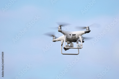 Phantom 4 Pro drone in flight Canvas Print