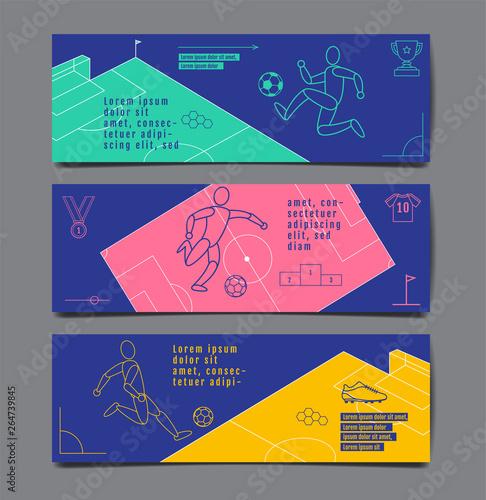 template sport layout design, flat design, single line, graphic  illustration, football, soccer, vector illustration