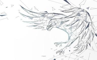 Ćelav orao leti iz linija, trokuta i dizajna u stilu čestica. Vektor ilustracije