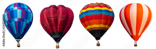 Valokuva  Isolated photo of hot air balloon isolated on white background.
