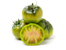 Fresh Green Tomato Isolated On White Background