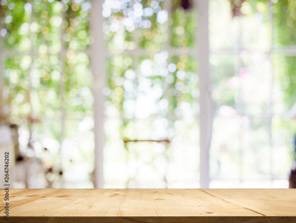 Fototapety, obrazy: wood table top white garden bokeh background.