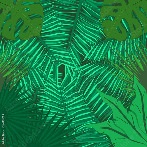 Ingelijste posters Tropische Bladeren Illustration of green leaves overlapping,leaves background,frame on leaves