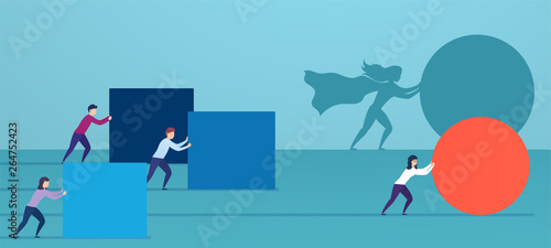 Tableau sur Toile Business woman superhero pushes red sphere, overtaking competitors