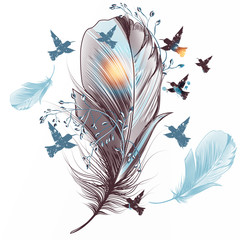Naklejka Boho Elegant vector feather illustration with birds