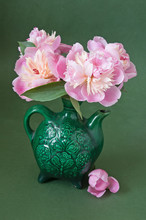 Artistic Still Life With Pink Peonies In Vase
