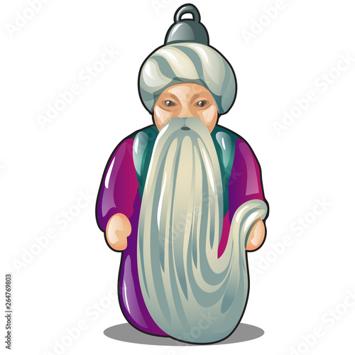 Photo  Pendant or Christmas tree toy in the form of an old man in a turban isolated on white background