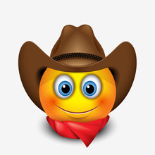 Cute Smiling Emoticon Wearing Cowboy Hat, Emoji