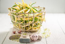 Preparation For Pickled Yellow And Green Beans In Basket