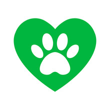 The Dog's Track In The Green Heart. Cat And Dog Paw Print Inside Heart