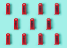 London Red Telephone Booth Background Pattern.