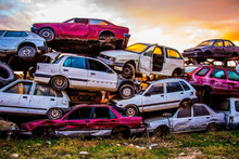 Pile Of Discarded Old Cars On ...