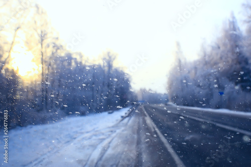 Recess Fitting Blue sky cars on winter road traffic jam city / winter weather on the city highway, the view from car in the fog and snow road