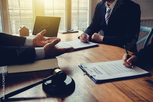 Joint consultation of lawyers and services to clients at the lawyer office Canvas Print