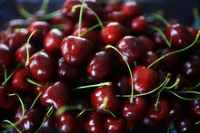 Plate With Cherry Background /...