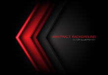 Abstract Red Arrow Direction On Dark Grey Circle Mesh With Text Design Modern Futuristic Background Vector Illustration.