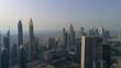 Drone aerial View of Dubai city skyscrapers