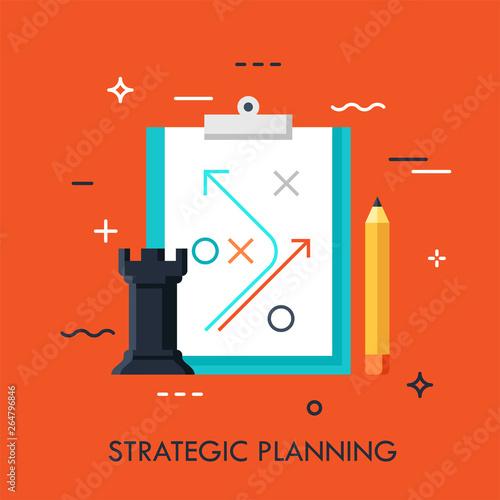 Cuadros en Lienzo  Rook chess piece, pencil and strategic plan drawn on paper sheet