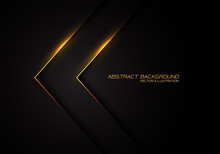 Abstract Gold Line Light Arrow Direction On Black Design Modern Luxury Futuristic Background Vector Illustration.
