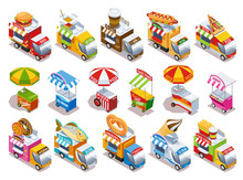 Food Truck Isometric Icons Set