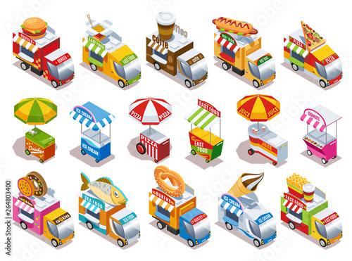 Foto op Canvas Cartoon cars Food Truck Isometric Icons Set