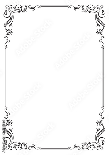 Calligraphic floral frame and page decoration Canvas Print