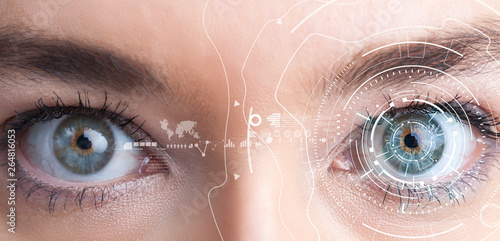 Canvastavla  Iris recognition concept. Smart wearable eye-compatible computer.