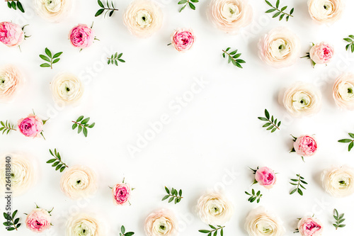 Canvas Prints Floral Floral background frame made of pink ranunculus and roses flower buds on white background. Flat lay, top view floral background.