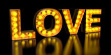 Love Signboard From Golden Lig...