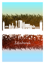 Edinburgh Skyline Blue And White