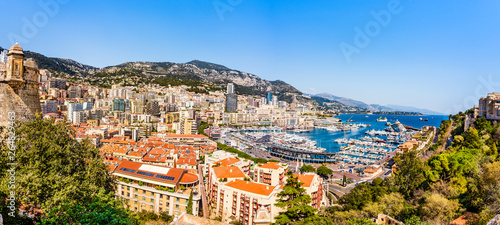 фотография Monaco skyline panoramic view of the Hercules port on the French riviera of Cote