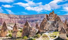 Volcanic Landscape In Goreme National Park. Cappadocia, Turkey