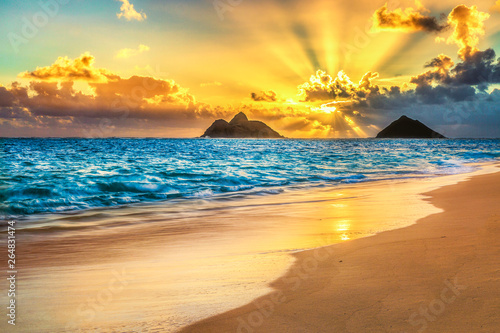 obraz lub plakat Sunrise at Lanikai Beach, Kailua, Oahu, Hawaii