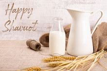 Happy Shavuot, Dairy Products And Fruits. Traditional Jewish Holiday