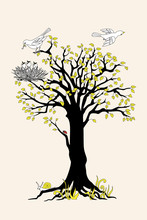 Black Silhouette Tree With Yellow Leaves, Birds And Nest