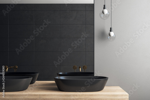 Poster de jardin Nature Dark bathroom interior