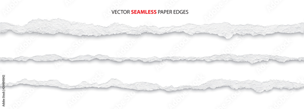 Fototapety, obrazy: realistic torn paper edges, vector illustration