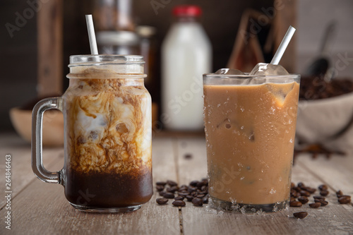 Canvas A pair of tasty homemade organic cold brew batch ice coffee drinks, mocha latte, with ingredients