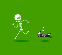 A Dog Chasing A Skeleton. Isolated Vector Illustration